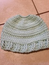 Crochet messy bun hat light mint green in Lawton, Oklahoma