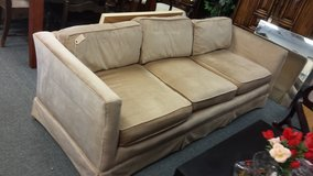 Beige velour sofa in Naperville, Illinois