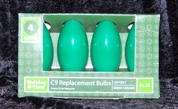 C9 Bulbs for Christmas Lights  (4-Pack) NEW! All Green in Alamogordo, New Mexico