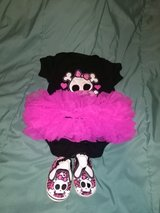 Skull costume size 0-6 months with 6-9 months shoes in Leesville, Louisiana