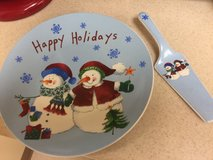 Happy holidays cake plate and server in Okinawa, Japan