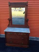 Walnut Victorian Marble Top Beveled Mirror Dresser in Cherry Point, North Carolina