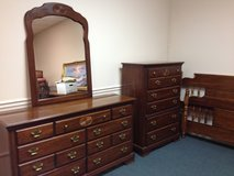 Bedroom Furniture - 3 Pcs. (Dresser w/Mirror, Chest of Drawers, Queen Bed Frame in Macon, Georgia