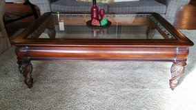 Coffee Table Cherry Wood Glass Top Traditional Like New in Westmont, Illinois