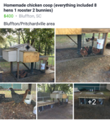 Chicken coop (home made) every with it in Beaufort, South Carolina