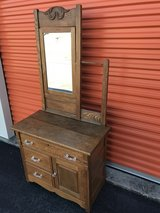 Antique Oak Hotel Wash Stand w/ Mirror and Towel Bar in Cherry Point, North Carolina