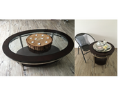 Wooden Glas Table Set - Couch Table & Side Tables in Stuttgart, GE
