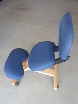 Mobile Wooden Ergonomic Kneeling Posture Chair with Reclining Back in Navy Blue Fabric in Fort Leonard Wood, Missouri