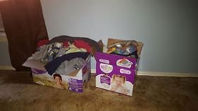 two boxes of boy baby clothes in Lawton, Oklahoma