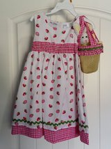 NWT 3T White Dress with Pink Strawberries w/ Bunny Bag Purse in Fort Campbell, Kentucky