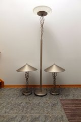 Torsion Torch Pole Lamp with Two Torsion Table Lamps in Palatine, Illinois