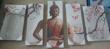 5 piece Buddha Art Canvas Oil Painting, stretched on wooden frames. in Okinawa, Japan