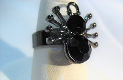 Pewter Tone Black Gem Stone Spider Adjustable Halloween Witch Ghost Haunted Spooky in Kingwood, Texas