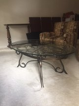 Coffee Table, oval, glass top, wrought iron base in Fairfax, Virginia
