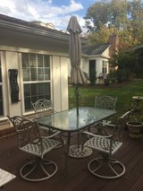 Outdoor table & chairs w/ umbrella, stand, cushions, chest (Potomac Falls) in Fairfax, Virginia