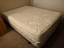 Used Full size mattress + box + frame + 2 free pillows in Kirtland AFB, New Mexico