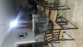 glass dining room table with 6 chairs & bakers rack in New Lenox, Illinois