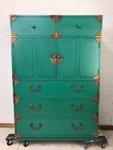 Vintage Thomasville Mid Century Armoire Oriental Style Painted by Panther Creek in Fort Leonard Wood, Missouri