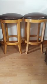 NEW-TWO BROWN LEATHER NAIL HEAD TRIM SWIVEL BAR STOOLS in Elgin, Illinois