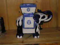 Ceramic Large Blue and Ivory in color Elephant is a planter and is very well detailed all hand done in Yucca Valley, California