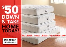 No Credit? Bad Credit? No Problem! Take Home a New Mattress or Bedroom Set Today! in Camp Pendleton, California