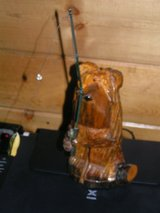 Hand crafted wooden Bear with fishing pole in Yucca Valley, California