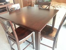 All wooden dining table in Okinawa, Japan