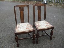 Quality Pair Of 1930's Rosey Carved Dining Chairs in Lakenheath, UK