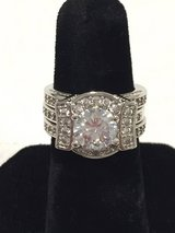 Beautiful Cubic Zirconia Sterling Silver Platinum Plated Ring in Joliet, Illinois