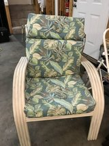 Pair of outdoor patio chairs with matching glass top table in Cherry Point, North Carolina