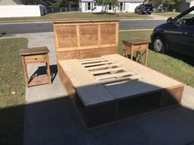 Solid wood platform queen bed 2 night stands end tables farm style farm house farmhouse in Camp Lejeune, North Carolina