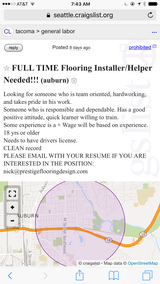 FULL TIME FLOORING INSTALLER/HELPER NEEDED! in Fort Lewis, Washington