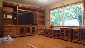 Solid Wood- Oak Entertainment Center, Coffee Table, and End Tables in Fort Knox, Kentucky