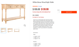 White Stone Wood Sofa Table in Fort Carson, Colorado