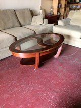 Nice Glass and Wood Coffee Table in Leesville, Louisiana