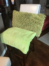 Lime green funky pillow and throw in Kingwood, Texas