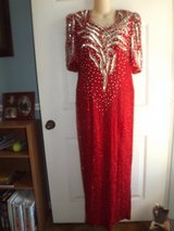Red & Silver Bead and Sequin Ball Gown in Greenville, North Carolina