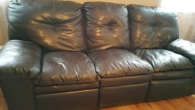 """Sofa / couch and loveseat  Recliner . Black. """" leather -  like """"  MAKE AN OFFER in Morris, Illinois"""