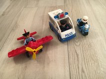 Lego Duplo police car, motorcycle, airplane in Ramstein, Germany