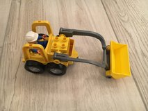 Lego Duplo digger with construction worker in Ramstein, Germany
