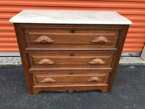 Walnut Victorian Marble Top Dresser in Cherry Point, North Carolina