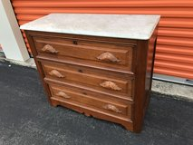 Antique Walnut Victorian Marble Top Dresser in Camp Lejeune, North Carolina