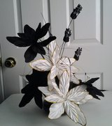 Black & White Floral Arrangement in Black Ceramic Dish in Eglin AFB, Florida