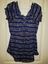 Juniors blue and multicolored blouse in Kingwood, Texas