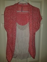 Ladies cream blouse with attached peach cardigan in Kingwood, Texas