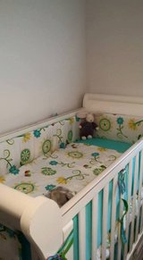 Sleigh style drop side crib, mattress and crib set with extras in Beaufort, South Carolina