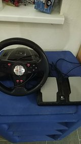 Working USB logitech Nascar Racing wheel with pedals in Ramstein, Germany