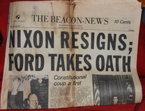 "Aurora Beacon News ""Nixon Resigns"" Newspaper in Sandwich, Illinois"