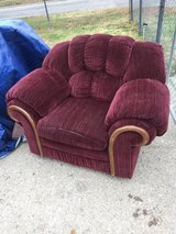 Large burgundy chair in Fort Riley, Kansas