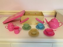 Metal Pastel Picnic Basket with Tea Service for 4 in Aurora, Illinois
